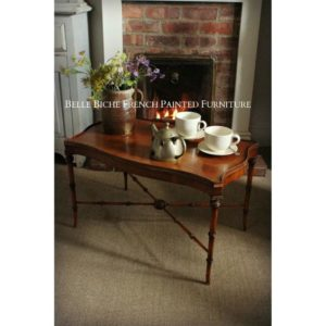 English Walnut Chinese Chippendale Style Faux Bamboo Coffee Table