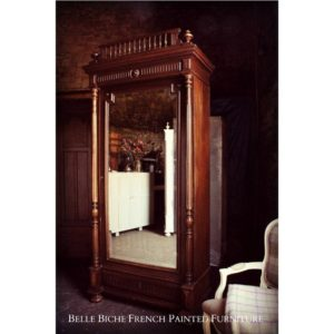 Antique Empire Style Mirrored Armoire