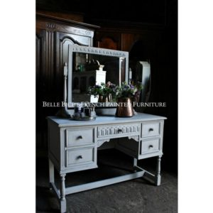 Antique Gustavian Grey Dressing Table & Matching Upholstered Chair