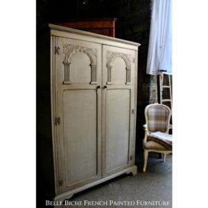 Late Edwardian 'French Painted' Oak Wardrobe