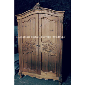 Spacious Richly Carved Provincial French Solid Pine Armoire