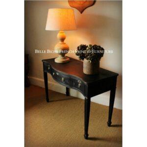 George III Style Three Drawer 'Parisian Noire' Serpentine Table