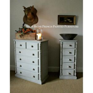 Gustavian Grey Solid Pine Provincial Set of Tall Chest Commodes