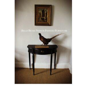 Demi Lune Single Drawer Parisian Noir Console Hall Side Table