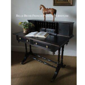 George III Style Parisian Noir Writing Desk