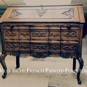 Richly Carved Original 1930's French Oak Drop Leaf Bureau