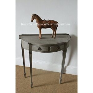 French Ash Grey George III Style Two Drawer Demi Lune Side Table