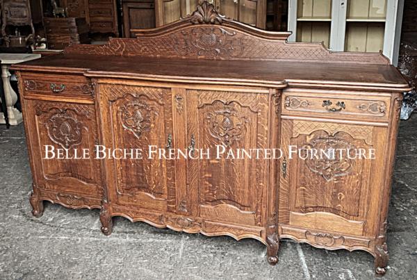 Huge Four Door Provincial French Solid Oak Buffet