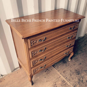 Original French Oak, Provincial Four Drawer Chest Commode