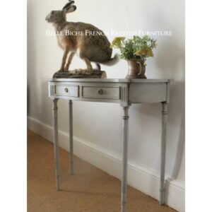 George III Style Demi Lune Two Drawer Side Table in Gustavian Grey