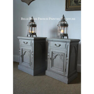 Pair Large 'French Ash Grey' Gothic Style Solid Pine Nightstands