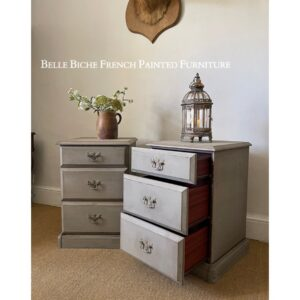 Handsome Pair French Ash Grey Three Drawer Bedside Cabinets